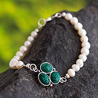 Cultured pearl and chrysocolla pendant bracelet, 'Healing Clover'
