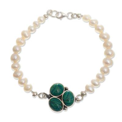 Cultured pearl and chrysocolla pendant bracelet, 'Healing Clover' - Chrysocolla and Cultured Pearl Bracelet from Peru