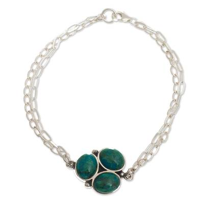 Sterling and Chrysocolla Pendant Bracelet
