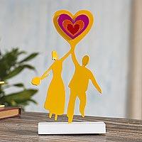 Aluminum sculpture, 'Married Bliss' - Aluminum Sculpture of Couple Holding a Heart from Peru