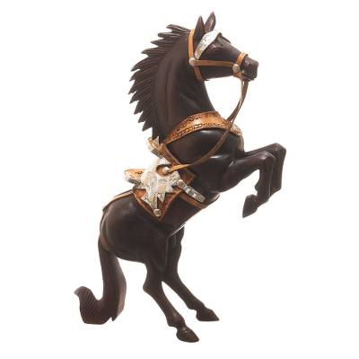 Cedar Wood Horse Sculpture With Leather Details From Peru