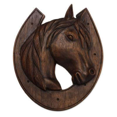 Cedar Wood Horse And Horseshoe Relief Panel From Peru