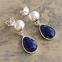Lapis lazuli dangle earrings, 'Blue Rain' - Handmade Lapis Lazuli Sterling Silver Earrings From Peru