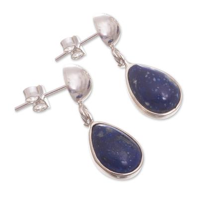 Lapis lazuli dangle earrings, 'Blue Rain' - Handmade Lapis Lazuli Sterling Silver Earrings From Peru