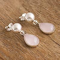 Rose quartz dangle earrings, 'Blooming Love' - Handmade Pink Quartz Sterling Silver Earrings From Peru