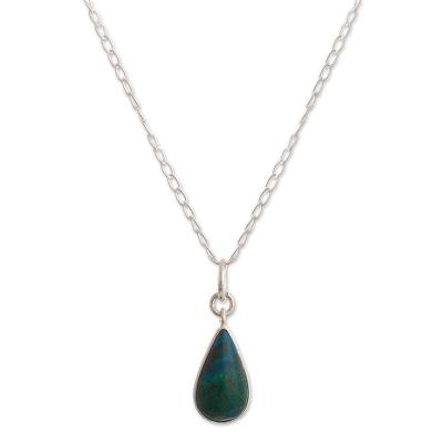 Chrysocolla pendant necklace, 'Forest Poetry' - 925 Sterling Silver Chrysocolla Pendant Necklace From Peru