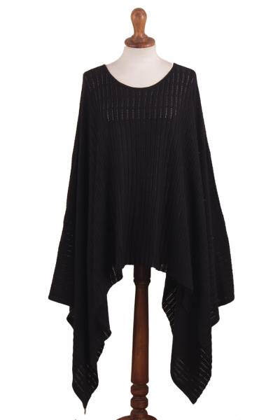 Organic Pima Cotton Knitted Poncho in Black from Peru