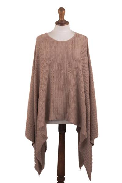 Organic Pima Cotton Knitted Poncho in Peach from Peru
