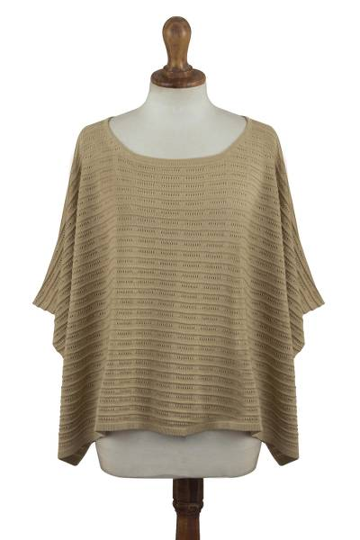 Organic Pima Cotton Textured Poncho in Sand Brown from Peru