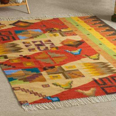 Alpaca rug, 'Inca Royalty' (5 x 6.5) - Handwoven Alpaca Wool Geometric Rug 5 x 6.5 from Peru