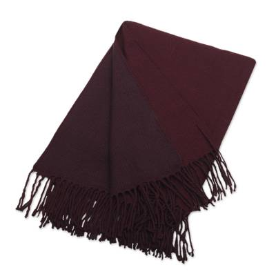 Acrylic and alpaca blend throw blanket, 'Color Harmony in Wine' - Soft Acrylic and Alpaca Throw Blanket