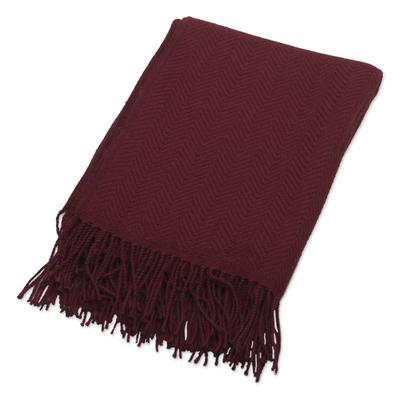 Chevron Pattern Wine Red Throw Blanket