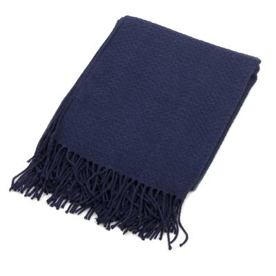 Fringed Blue Acrylic/Alpaca Throw Blanket