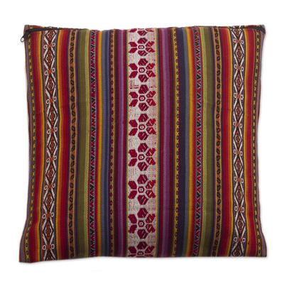 Alpaca Blend Hand-woven Multicolor Geometric Cushion Cover