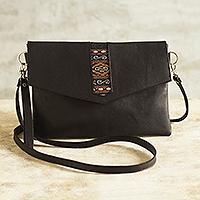 Leather sling bag, 'Mystic Black' - Versatile Leather Geometric Sling Bag from Peru