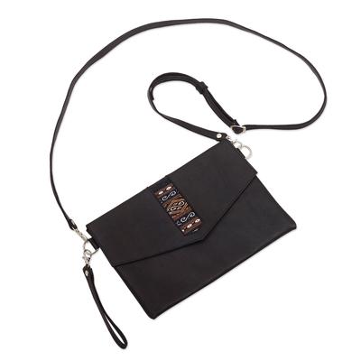 Versatile Leather Geometric Sling Bag from Peru