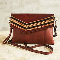 Leather convertible handbag, 'Andean Summer' - Tooled Leather Convertible Messenger Wristlet Bag from Peru