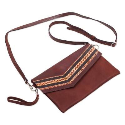 Tooled Leather Convertible Messenger Wristlet Bag from Peru