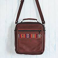 Leather messenger bag, 'Morral in Chestnut Brown' - Wool Insert Leather Brown Crossbody Messenger Bag from Peru