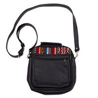 Black leather messenger bag, 'Morral in Black' - Wool Insert Black Leather Messenger Crossbody Bag from Peru
