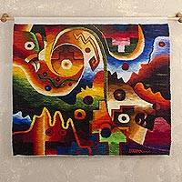 Wool tapestry, 'Abstraction of Birds' - Multicolored Abstract Wool Tapestry