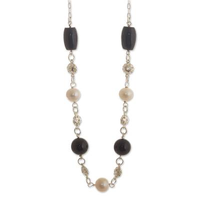 Black Obsidian and Cultured Pearl Necklace from Peru