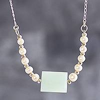 Cultured pearl and opal pendant necklace, 'Luminous Visions' - Cultured Pearl and Opal Pendant Silver Necklace from Peru