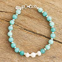 Amazonite and cultured freshwater pearl beaded bracelet, 'Exquisite Love' - Natural Amazonite Hand Crafted Beaded Bracelet from Peru