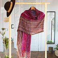 Baby alpaca blend shawl, 'Andean Valley Flower' - Hand Woven Baby Alpaca Blend Shawl from Peru