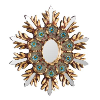 Accent Mirror with Floral Reverse Painted Glass from Peru