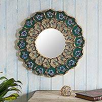 Reverse-painted glass wall mirror, 'Idyllic Emerald Garden' - Emerald Reverse-Painted Glass Wood Wall Mirror from Peru