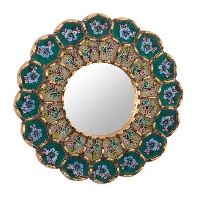 Emerald Reverse-Painted Glass Wood Wall Mirror from Peru