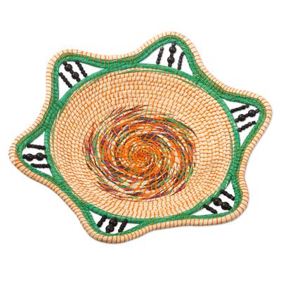 Green and Natural Fiber Decorative Basket from Peru