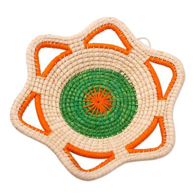 Green and Orange Natural Fiber Decorative Basket from Peru