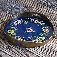 Reverse-painted glass tray, 'Wildflower Ways'