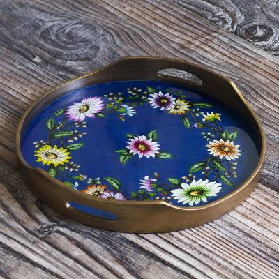 Reverse-painted glass tray, 'Wildflower Ways' - Floral Reverse-Painted Glass Tray