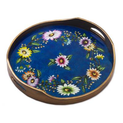 Floral Reverse-Painted Glass Tray