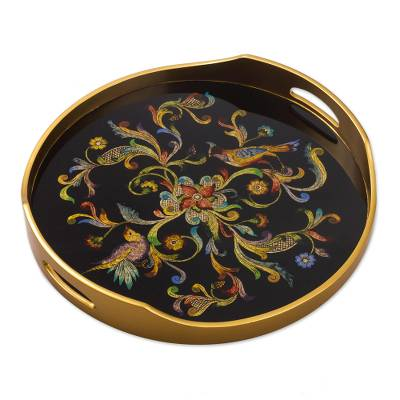 Reverse-painted glass tray, 'Birds of the Night' - Artisan Crafted Glass Tray