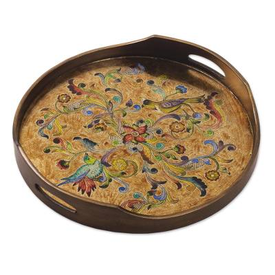 Reverse-painted glass tray, 'Heralds of Spring' - Unique Reverse-Painted Glass Serving Tray