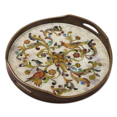 Hand Painted Glass Tray from Peru