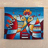 Alpaca tapestry, 'Dance of the Birds' - Hand Woven Bird Motif Tapestry