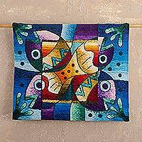 Alpaca tapestry, 'Andean Sea Life' - Fish Theme Hand-loomed 100% Alpaca Tapestry from Peru