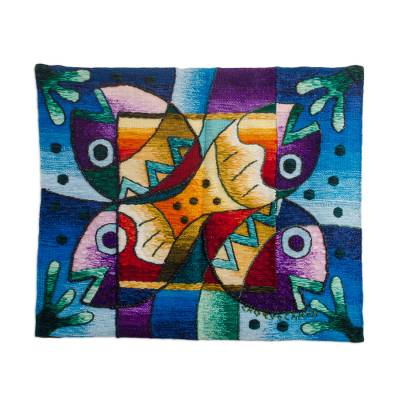 Fish Theme Hand-loomed 100% Alpaca Tapestry from Peru