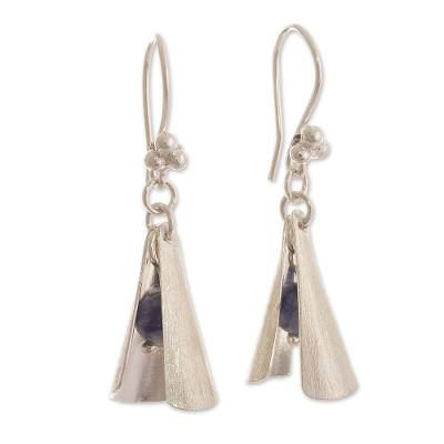 925 Sterling Silver and Sodalite Dangle Earrings from Peru