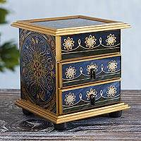Reverse painted glass jewelry chest, 'Vintage Blue' - Reverse Painted Floral Glass Jewelry Box Chest from Peru