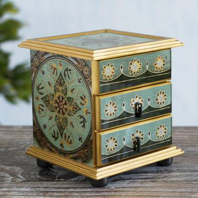 Reverse painted glass jewelry chest, 'Light Green Mandala' - Reverse Painted Glass Jewelry Box from Peru