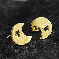 Gold-plated stud earrings, 'Glowing Night' - 18k Gold-plated Silver Star and Moon Stud Earrings from Peru