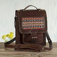 Leather messenger crossbody bag, 'Sierra Voyager' - Leather and Wool Insert Crossbody Messenger Bag from Peru