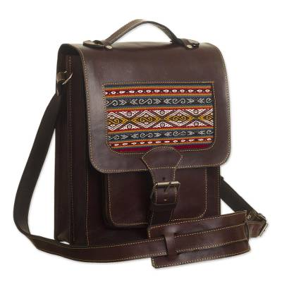 Leather and Wool Insert Crossbody Messenger Bag from Peru