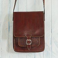Leather crossbody messenger bag, 'Little Adventure' - Andean Leather Crossbody Messenger Bag from Peru